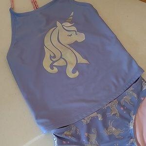 Cat & Jack girls two piece unicorn swimsuit